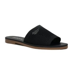 SODA SHOES Maddy Knit Slides Sandals Black NEW